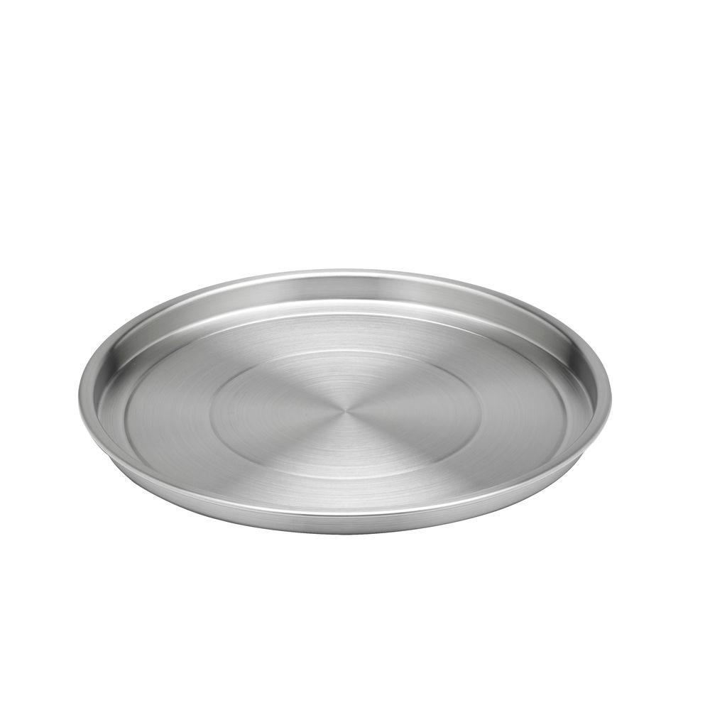 Kraftware 12 in. Round Brushed Stainless Steel Tray