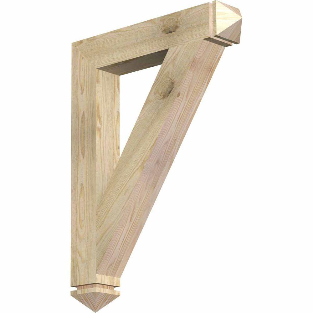 Ekena Millwork 4 in. x 32 in. x 24 in. Douglas Fir Traditional Arts and Crafts Rough Sawn Bracket