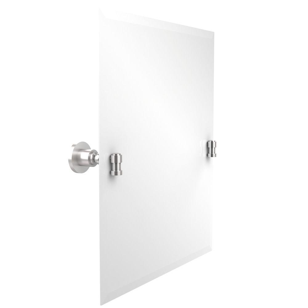 Allied Brass Washington Square Collection 21 in. x 26 in. Frameless Rectangular Single Tilt Mirror with Beveled Edge in Satin Chrome