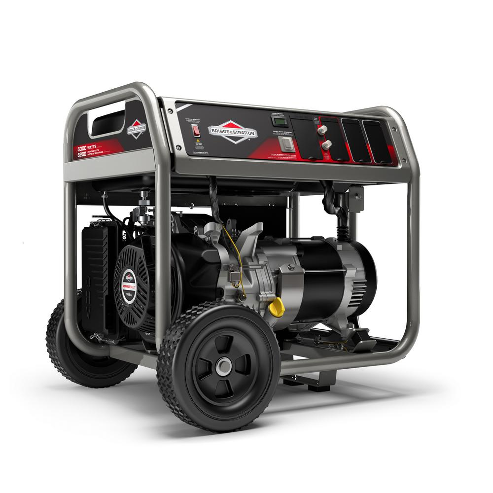 Briggs & Stratton 6,500-Watt Gasoline Powered Manual Start Portable  Generator with Engine