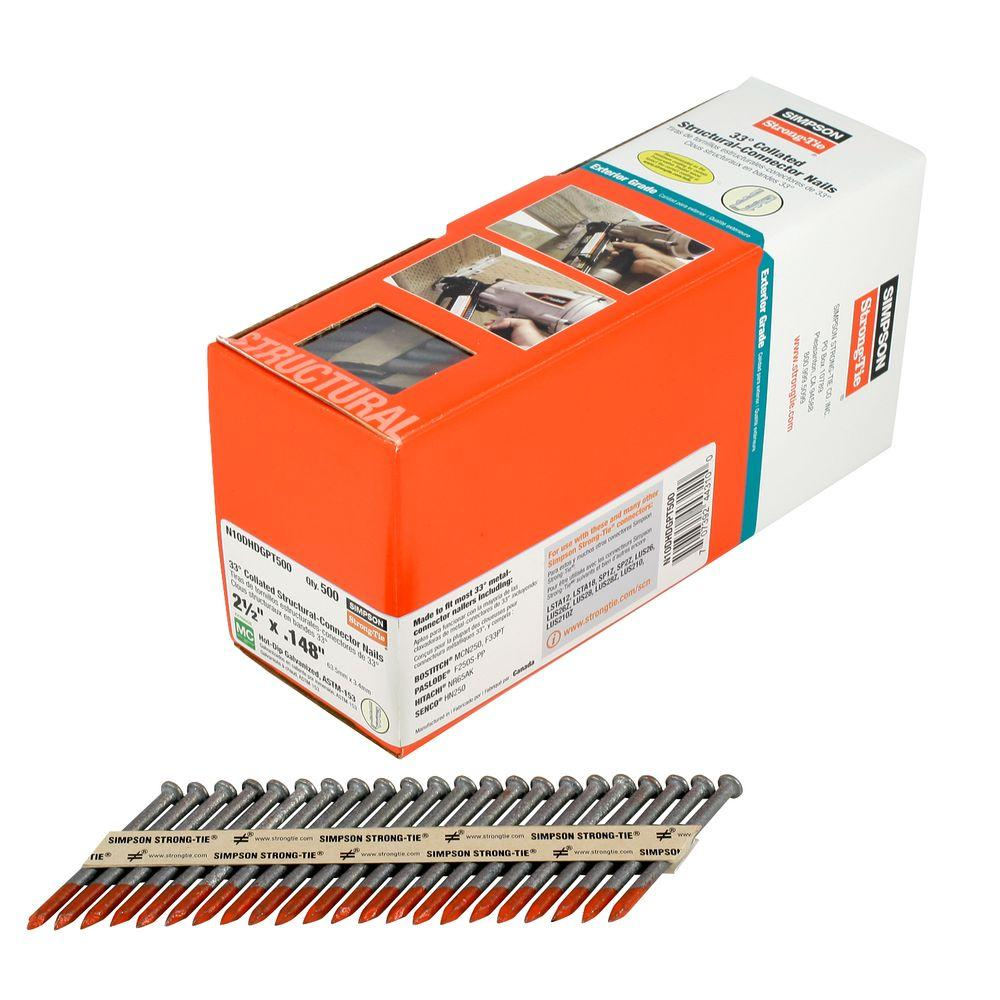 Simpson Strong-Tie 10d x 2-1/2 in. Hot-Dip Galvanized 33d Collated Structural Connector Nails