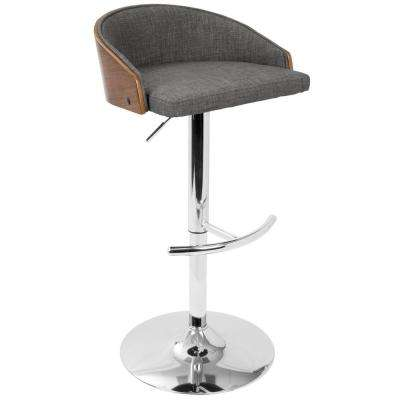 Shiraz Walnut and Grey Adjustable Barstool