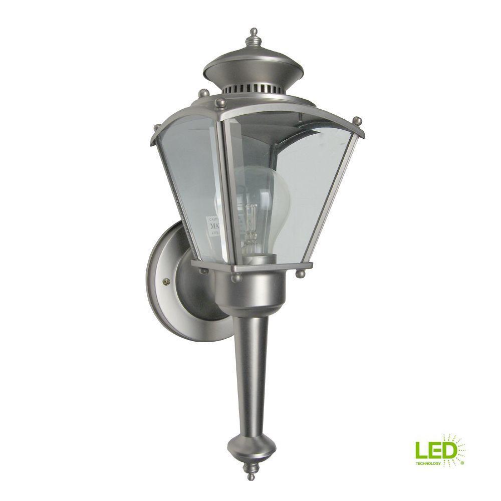 Beveled Glass Lantern 1-Light Pewter Outdoor Incandescent Wall Lantern