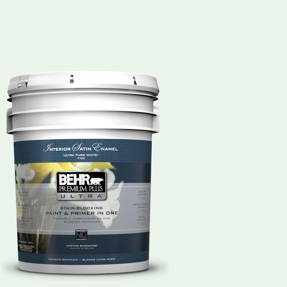 Behr Premium Plus Ultra 5 Gal 460a 1 Bubble Satin Enamel Interior Paint And Primer In One