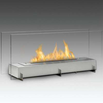 Vision II 38 in. Ethanol Free Standing Fireplace in Stainless Steel