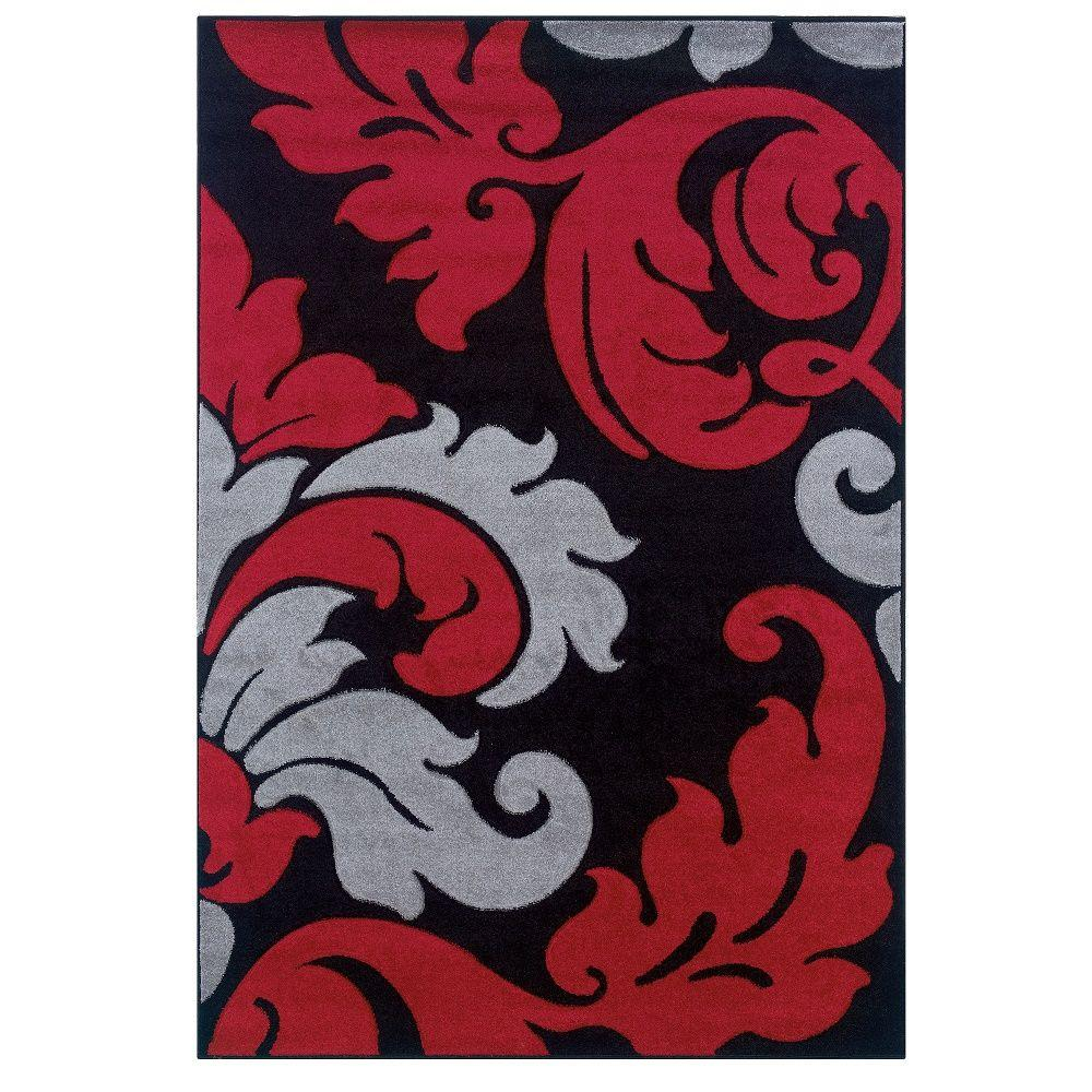 Corfu Collection Black and Red 1 ft. 10 in. x 2