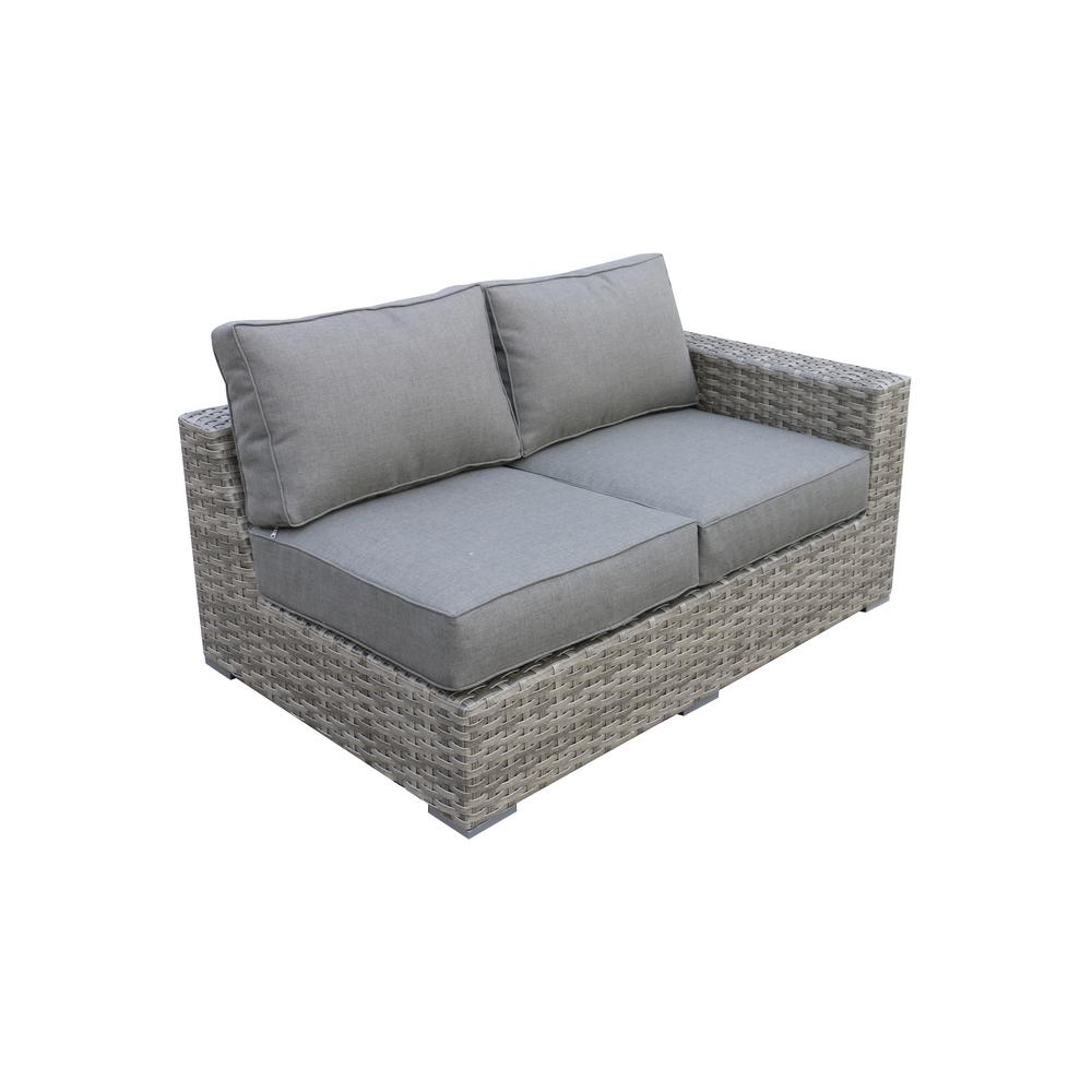 Terrific Envelor Bali Patio Wicker Left Arm Outdoor Sectional Chair With Olefin Charcoal Grey Cushion Dailytribune Chair Design For Home Dailytribuneorg