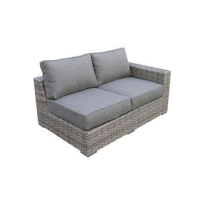 Bali Patio Wicker Left Arm Outdoor Sectional Chair with Olefin Charcoal Grey Cushion