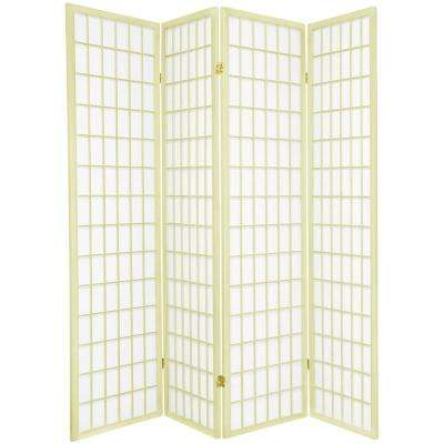 6 ft. Ivory Window Pane 4-Panel Room Divider