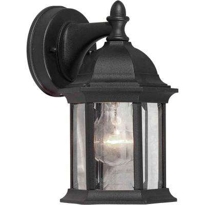 1-Light Outdoor Black Lantern with Clear Beveled Glass Panels