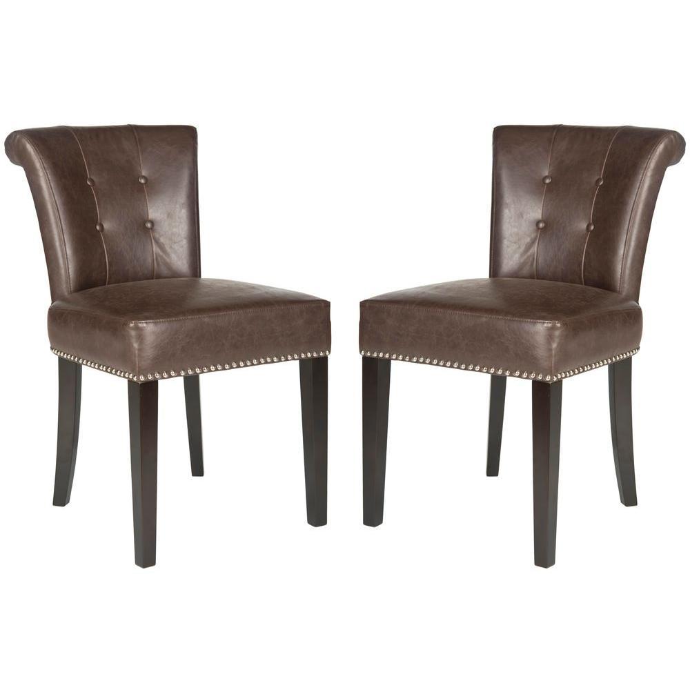 Strange Safavieh Sinclair Antique Brown Espresso Leather Side Chair Creativecarmelina Interior Chair Design Creativecarmelinacom