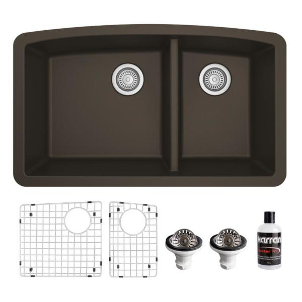 QU-711 Quartz/Granite Composite 32 in. Double Bowl 60/40 Undermount Kitchen Sink with Grids & Basket Strainers in Brown