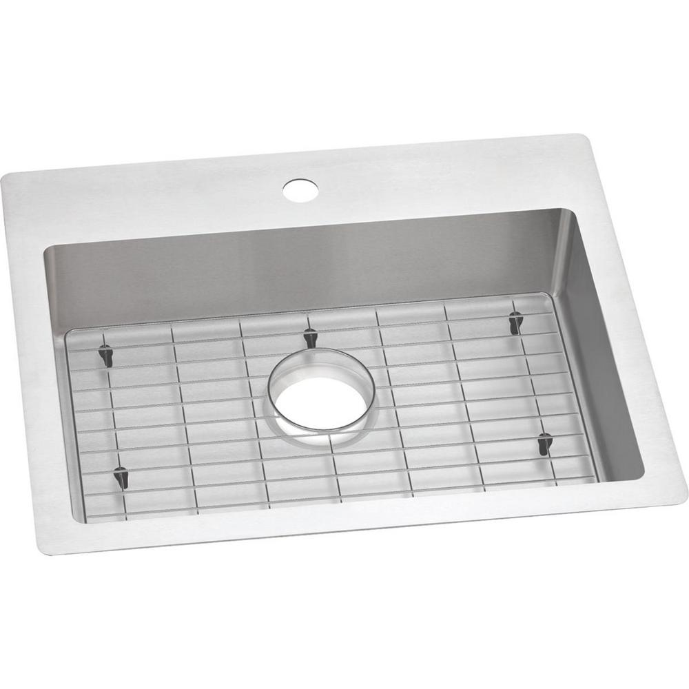 Elkay Crosstown Drop-In/Undermount Stainless Steel 25 in. 1-Hole Single  Bowl ADA Compliant Kitchen Sink with Bottom Grid