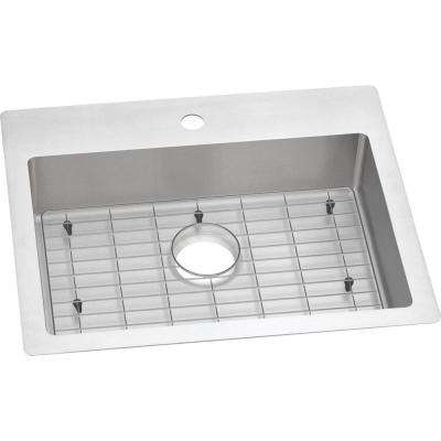 Crosstown Drop-In/Undermount Stainless Steel 25 in. 1-Hole Single Bowl ADA Compliant Kitchen Sink with Bottom Grid