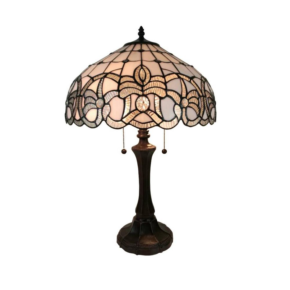 710fc0a39fd8 Amora Lighting 24 in. White Tiffany Style Floral Design Table Lamp ...