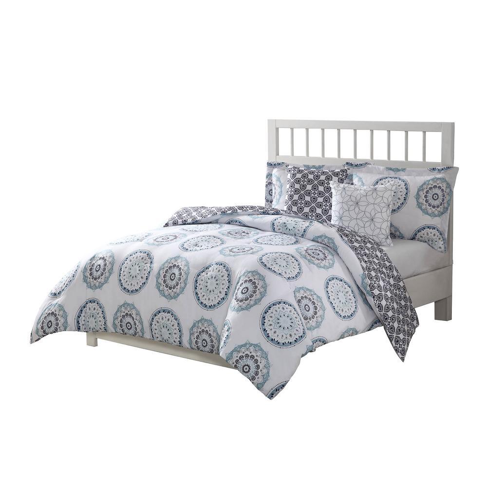 Calypso Navy Reversible 5-Piece King Comforter Set by
