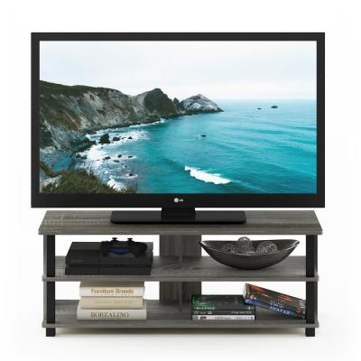 Sully 41 in. French Oak Gray and Black Wood TV Stand Fits TVs Up to 50 in. with Open Storage