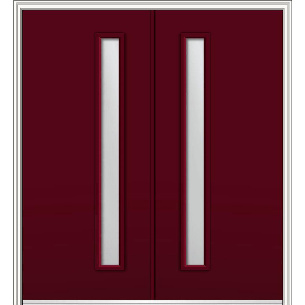 MMI Door 64 in. x 80 in. Viola Left-Hand Inswing 1-Lite Frosted Painted Fiberglass Smooth Prehung Front Door on 6-9/16 in. Frame
