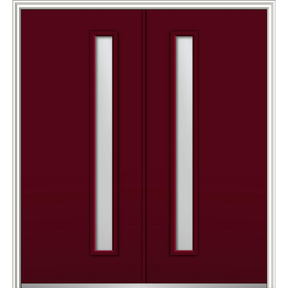 MMI Door 64 in. x 80 in. Viola Right-Hand Inswing 1-Lite Frosted Painted Fiberglass Smooth Prehung Front Door on 6-9/16 in. Frame