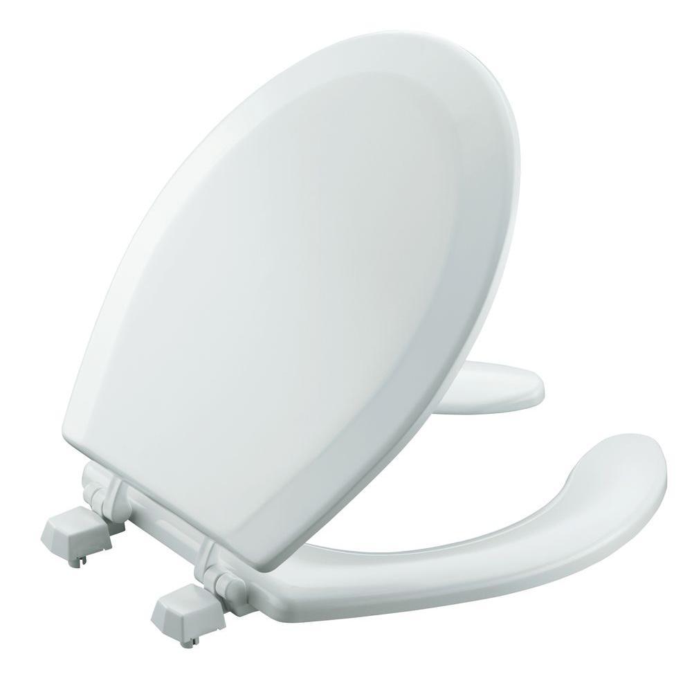 KOHLER Triko Molded Round Open Front Toilet Seat in White-DISCONTINUED