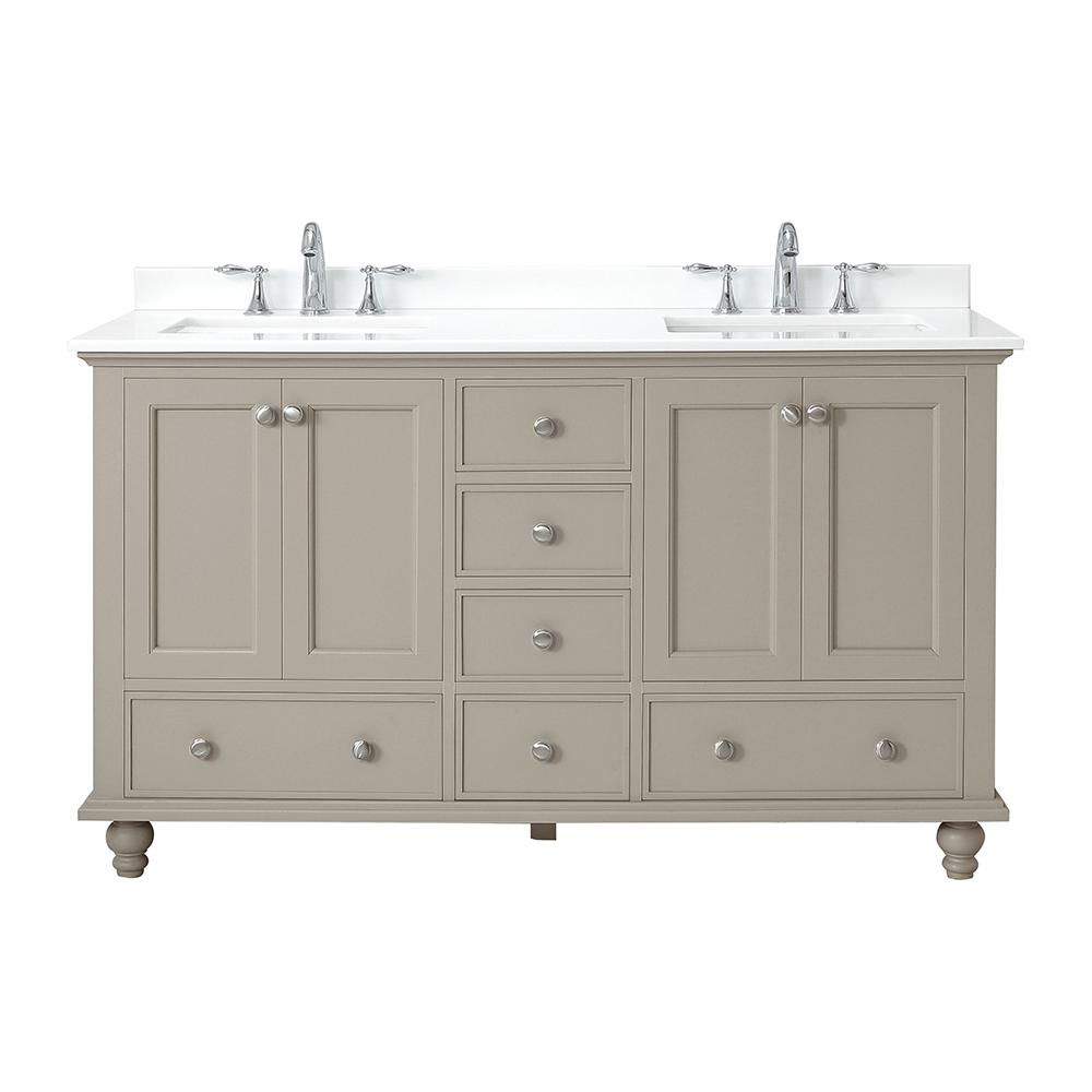 Home Decorators Collection Orillia 60 in. W x 22 in. D Vanity in Greige with Marble Vanity Top in White with White Sink