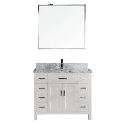 Kalize II 42 in. W x 22 in. D Vanity in White with Marble Vanity Top in Gray with White Basin and Mirror