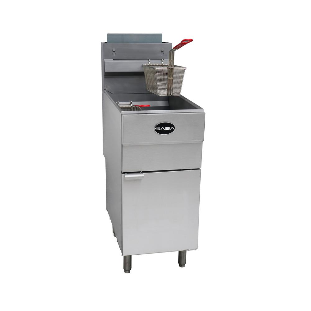 16 in. 45 lb. Capacity Natural Gas Commercial Fryer, Silver The SABA natural gas floor fryer is engineered with high performance and efficiency. This unit has an impressive 120,000 BTU/hr and features thermostatic controls to automatically keep oil at a set temperature between 200° to 400°F. This powerful fryer is designed with durable stainless-steel which creates reliable, safe and even heat distribution throughout the unit. The fryer features a stainless-steel fryer tank and a large cold zone to prevent carbonization of food particles or debris at the bottom. Our fryers are all designed with American made Robert Shaw control systems, to guarantee the best performance. This affordable fryer is perfect to meet your daily demands to fry a variety of products. SABA carries gas fryers in 2 sizes, 45 lb. capacity and 85 lb. capacity and both sizes come in natural gas and liquid propane. Color: Stainless Steel.