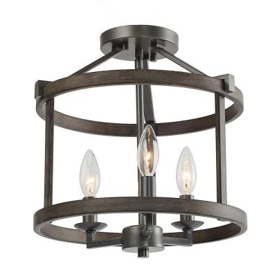 Fairforest 12 in. 3-Light Black Open Cage Rustic Farmhouse Drum Semi Flush Mount with Aged Oak Accents LED Compatible