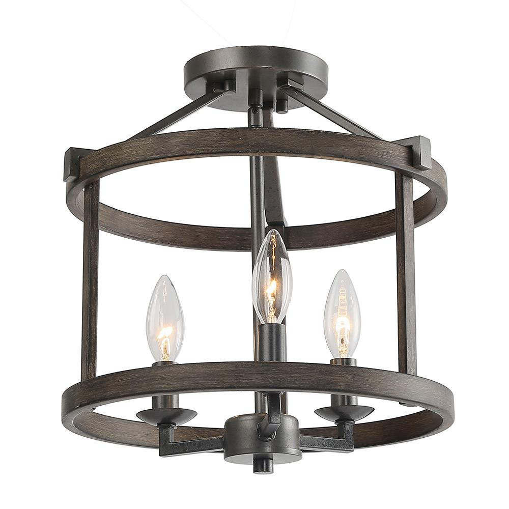 3 Light Bronze Faux Wood Drum Foyer Semi Flush Mount