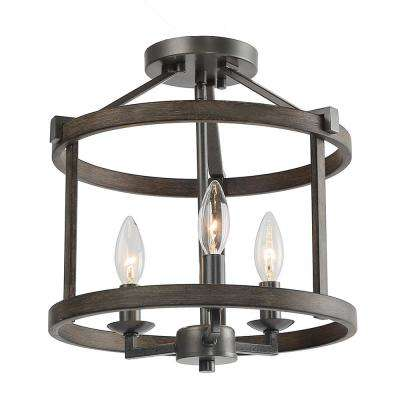 12 in. 3-Light Bronze Faux Wood Drum Foyer Semi-Flush Mount Light