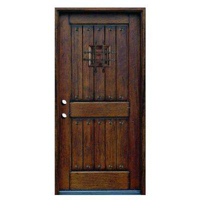 36 in. x 80 in. Rustic Mahogany Type Stained Distressed Solid Wood Speakeasy Prehung Front Door