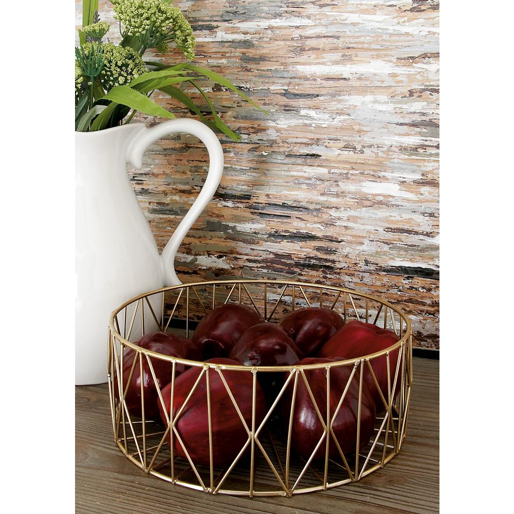 Modern Round Gold Iron Wire Baskets (Set of 3)