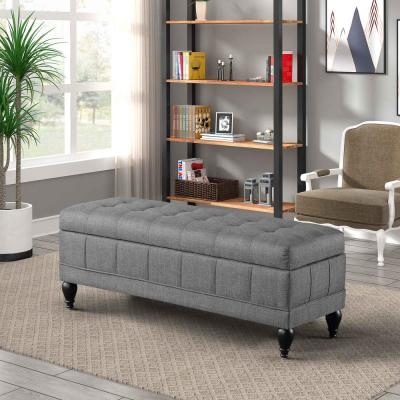 Grey Modern Tufted Storage Ottoman Bench