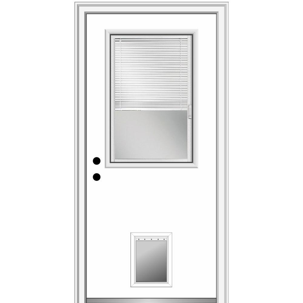 32 in. x 80 in. Internal Blinds Right-Hand 1/2-Lite Clear Primed Fiberglass Smooth Prehung Front Door with Pet Door