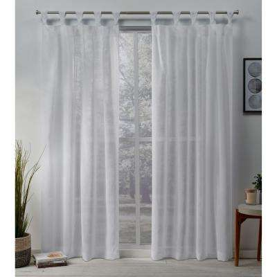 Belgian Sheer Braided Tab Top Curtain Panel Pair in White - 50 in. W x 96 in. L (2-Panel)