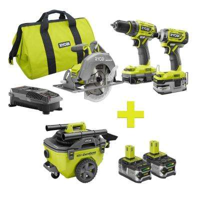 18-Volt ONE+ Lithium-Ion Cordless Brushless Combo Kit (3-Tool) w/Bonus 6 Gal. Wet/Dry Vacuum and (2) 4Ah Batteries