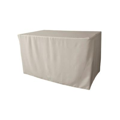 48 in. L x 30 in. W x 30 in. H Light Gray Polyester Poplin Fitted Tablecloth