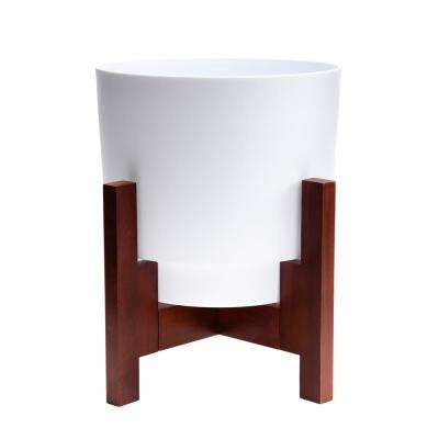 Hopson Medium 14 in. Casper White Planter with Wood Stand