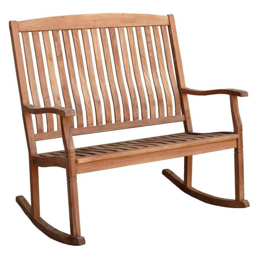Cambridge Casual Heaton Teak Wood Outdoor Loveseat Rocking Chair Hd 130776t The Home Depot