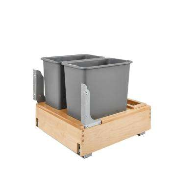 19.25 in. H x 20.25 in. W x 21.75 in. D Double 30 Qt. Pull-Out Bottom Mount and Silver Waste Container with Rev-A-Motion
