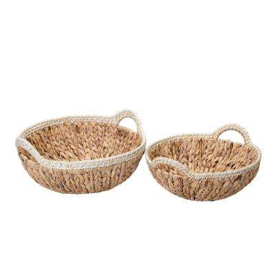 15 in. W x 7 in. H and 13 in. D x 6 in. H Handmade Water Hyacinth Wicker Round Nesting Baskets (2-Pack)