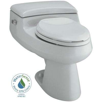 San Raphael Comfort Height 1-Piece 1 GPF Single Flush Elongated Toilet in Ice Grey