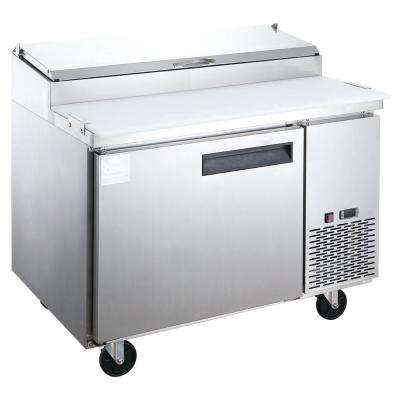 9.8 cu. Ft. Commercial Single Door Pizza Prep Table Commercial Refrigerator in Stainless Steel