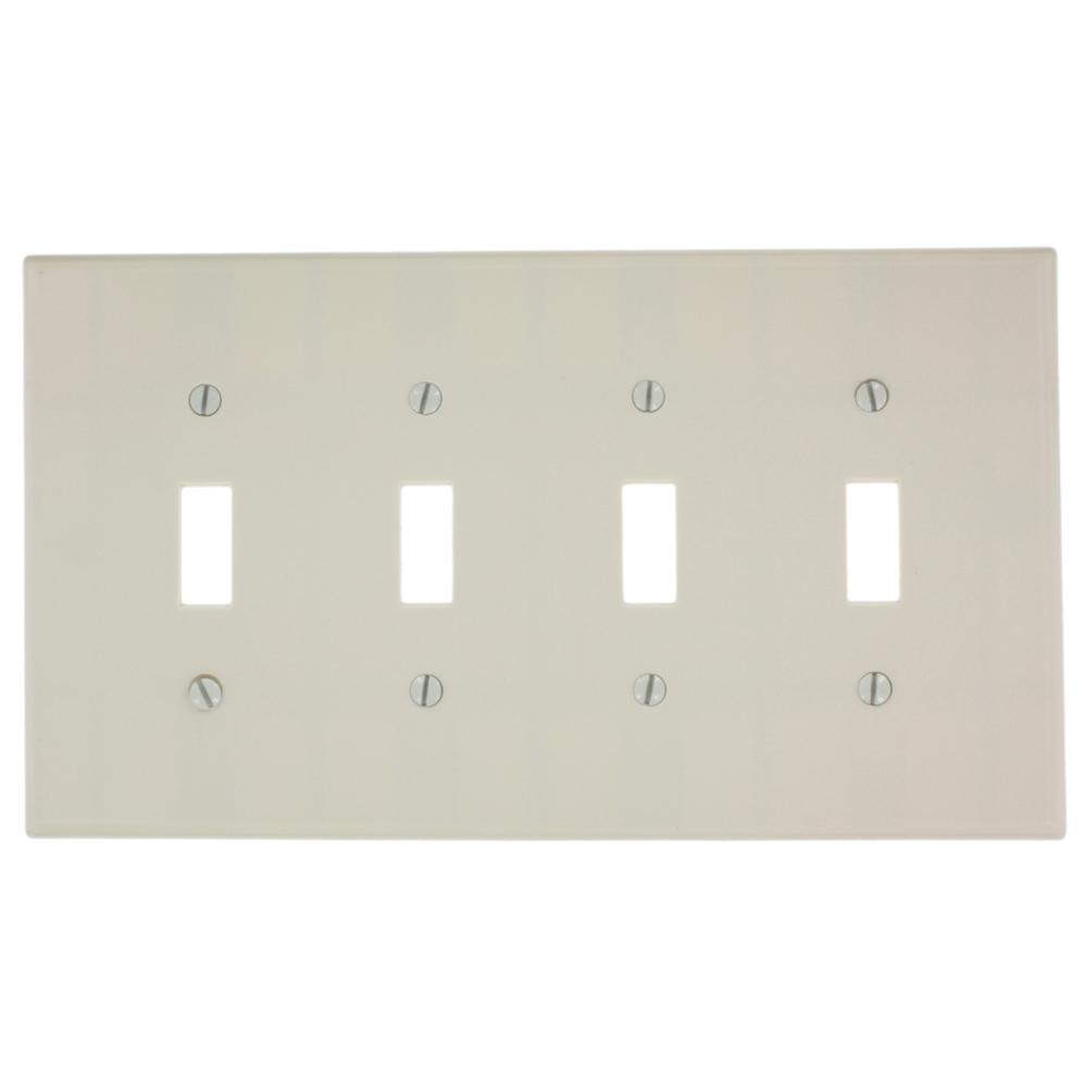 Leviton 4 Gang 4 Toggle Midway Size Plastic Wall Plate