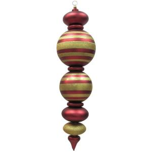 Christmas by Krebs 44 in. Red and Gold Shatterproof Finial ...
