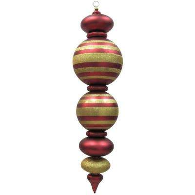 44 in. Red and Gold Shatterproof Finial with Stripes Ornament