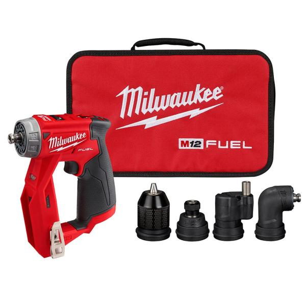 M12 FUEL 12-Volt Lithium-Ion Brushless Cordless 4-in-1 Installation 3/8 in. Drill Driver W/ 4 Tool Head (Tool-Only)