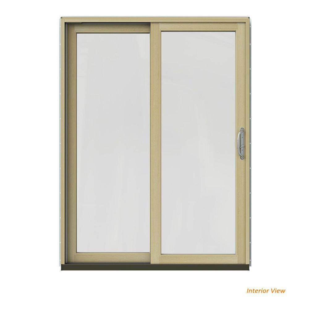 60 in. x 80 in. W-2500 Contemporary Bronze Clad Wood Left-Hand Full Lite Sliding Patio Door w/Unfinished Interior