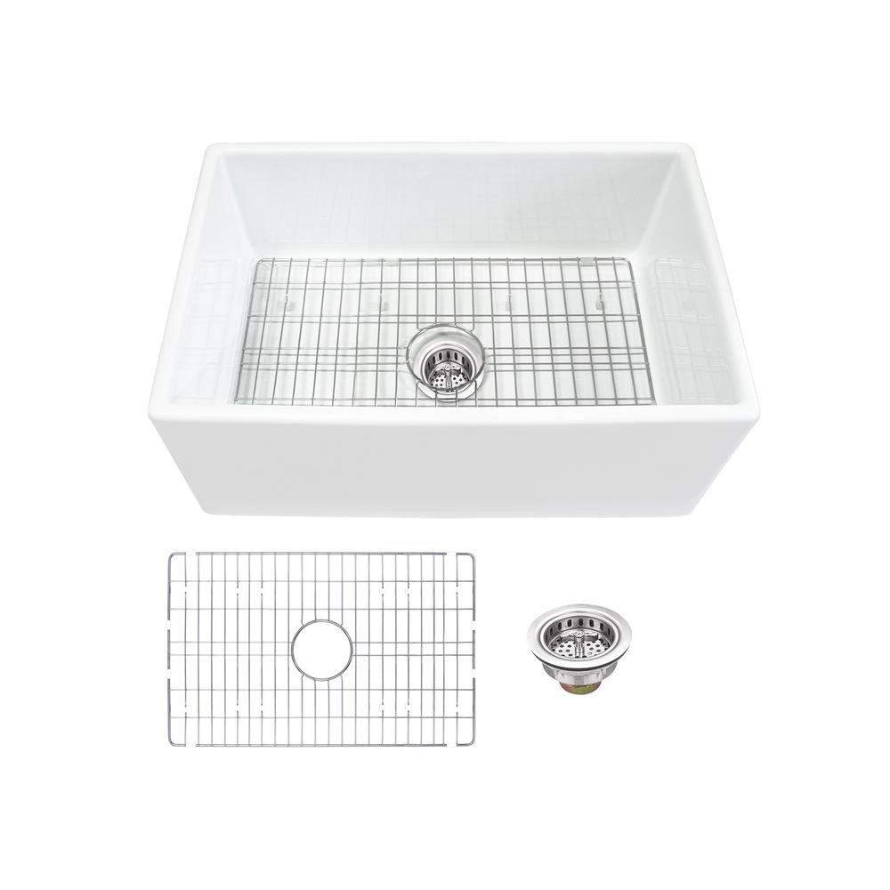 IPT Sink Company Farmhouse Apron Front Fireclay 30 in. Single Bowl Kitchen Sink in White with Grid and Strainer was $529.0 now $349.0 (34.0% off)