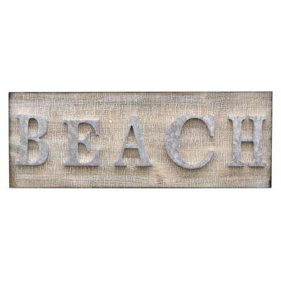 8.25 in. Novelty Sign-Beach in Brown